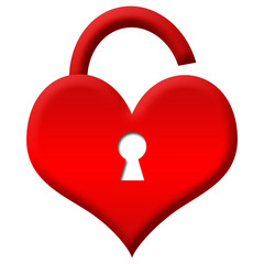 Red Heart Shape Lock - Unlocked