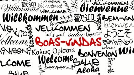 Boas- vindas e Bem-vindo palavras de tradução internacionais