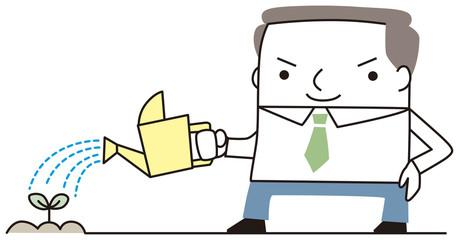 水を撒くビジネスマン