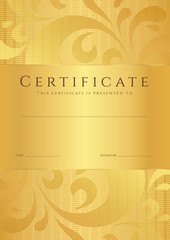 Gold Certificate / Diploma template (background). Floral pattern