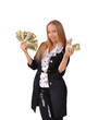 девушка держит в руках много денег, доллары