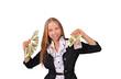 девушка с пачками долларов в руках