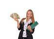 девушка с деньгами и зелёной папкой в руке