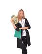 молодая девушка с деньгами в руке, офисный работник