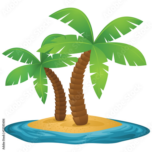 Island, palm trees, ocean, beach