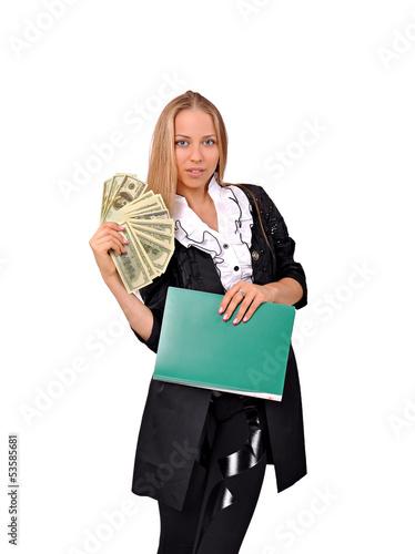 молодая успешная девушка с деньгами в руке