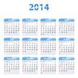 Blue glossy calendar for 2014