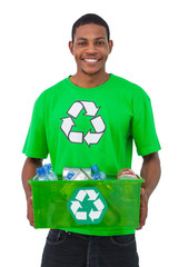Man holding box of recyclables