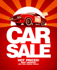Car sale design template with retro car