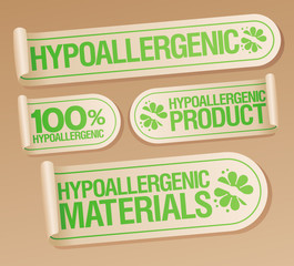 Hypoallergenic products stickers set