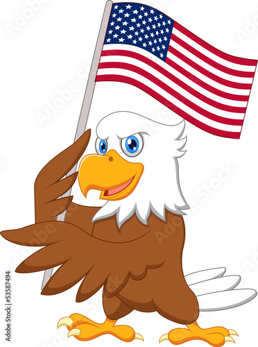 Eagle cartoon holding American flag