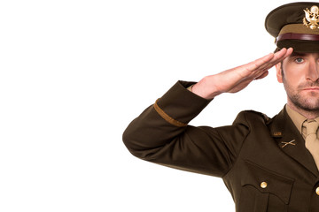 Portrait of a patriotic soldier saluting