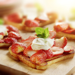 toast with strawberries mascarpone and lemon and a garnish