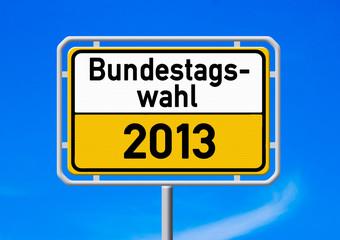 Ortsschild - Bundestagswahl 2013