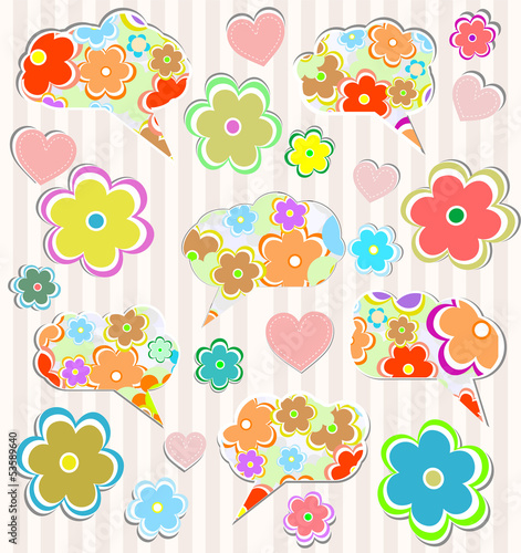 Abstract psychedelic flowers with hearts and flower