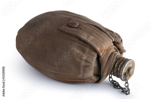 Army flask in a fabric cover. Isolated with clipping path
