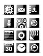 Modern black flat mobile app icon set