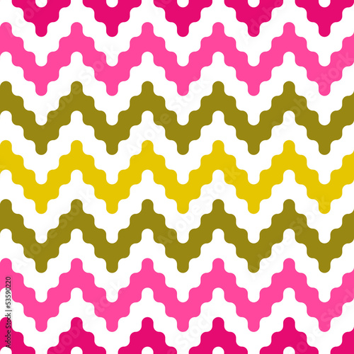 Colorful zigzag seamless pattern in pink and green, vector