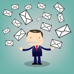 Business man cartoon characterwith mail