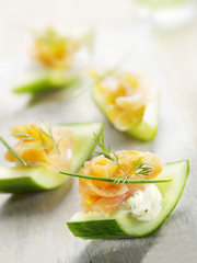 cucumber filled with cheese and smoked salmon