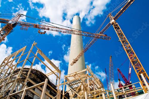 Power plant and cranes