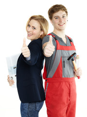 Apprentices for car mechanic and office show thumbs up