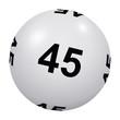 Loto, boule blanche numéro 45