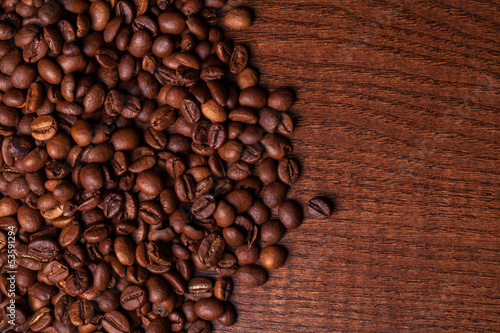 Closeup image of roasted coffee grains