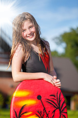 girl with bodyboard