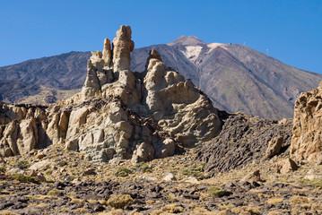 Rock La Cascada and volcano Teide