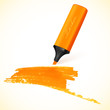 Orange vector marker with drawn spot