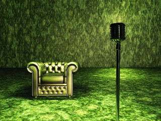Green Chair with mic