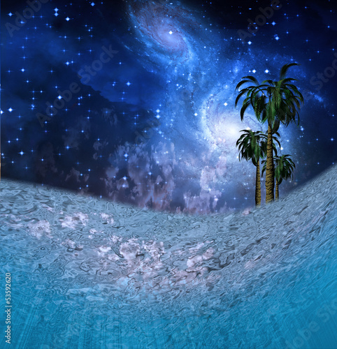 Tropic Night Underwater Scene