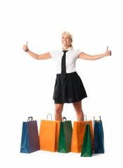 Daumen hoch beim Shopping
