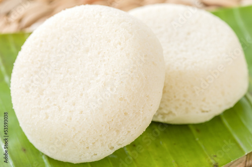 Sanna - Goan steamed rice cake. Traditional Indian cuisine