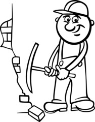worker with pick coloring page