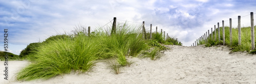 Sand dune at the beach in scheveningen netherlands - 53594241