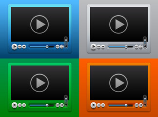 Glass Video Player for Web on Color background