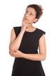 Geschäftsfrau isoliert nachdenklich in schwarzem Kleid