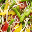 vegtables salad with tomato, beans, yellow pepper, bean sprouts