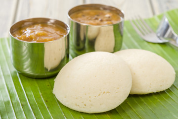 Idli, Chutney and Sambar - Indian steamed rice cakes and sides