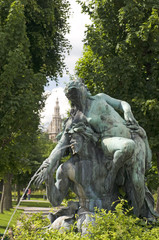 fountain sculpture Vienna Austria  park with museum in backgroun