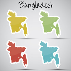 stickers in form of Bangladesh