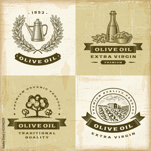 Vintage olive oil labels set
