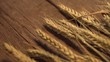 golden wheat on the old wooden background
