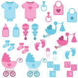 Vector Set of Boy and Girl Themed Baby Images