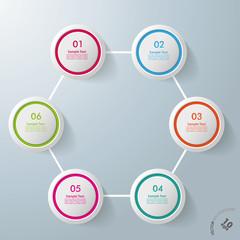 Six Circles Hexagon Infographic Design