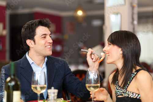Couple having dinner at the restaurant