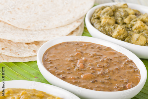 Dal Makhani & Aloo Saag: Lentil curry & Potatoes with spinach