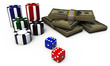 poker chips with dice and green dollars